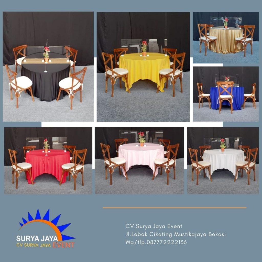 Sewa Meja Bulat Dan Pembatas Atau Penyekat Acrylic