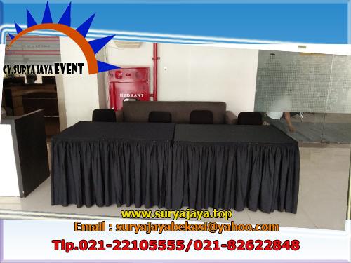 Sewa Kursi Meja Cover Hitam Dan Tirai Putih Acara DHL Garaha Intirub