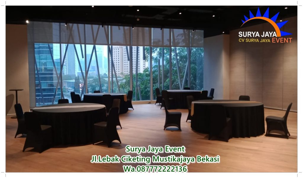 Sewa Round Table Dan Kursi Futura Bercover Standar Hotel
